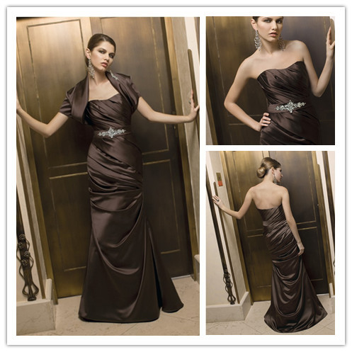 New Styly Chocolate Brown Evening Gown Mother Of The Bride ...