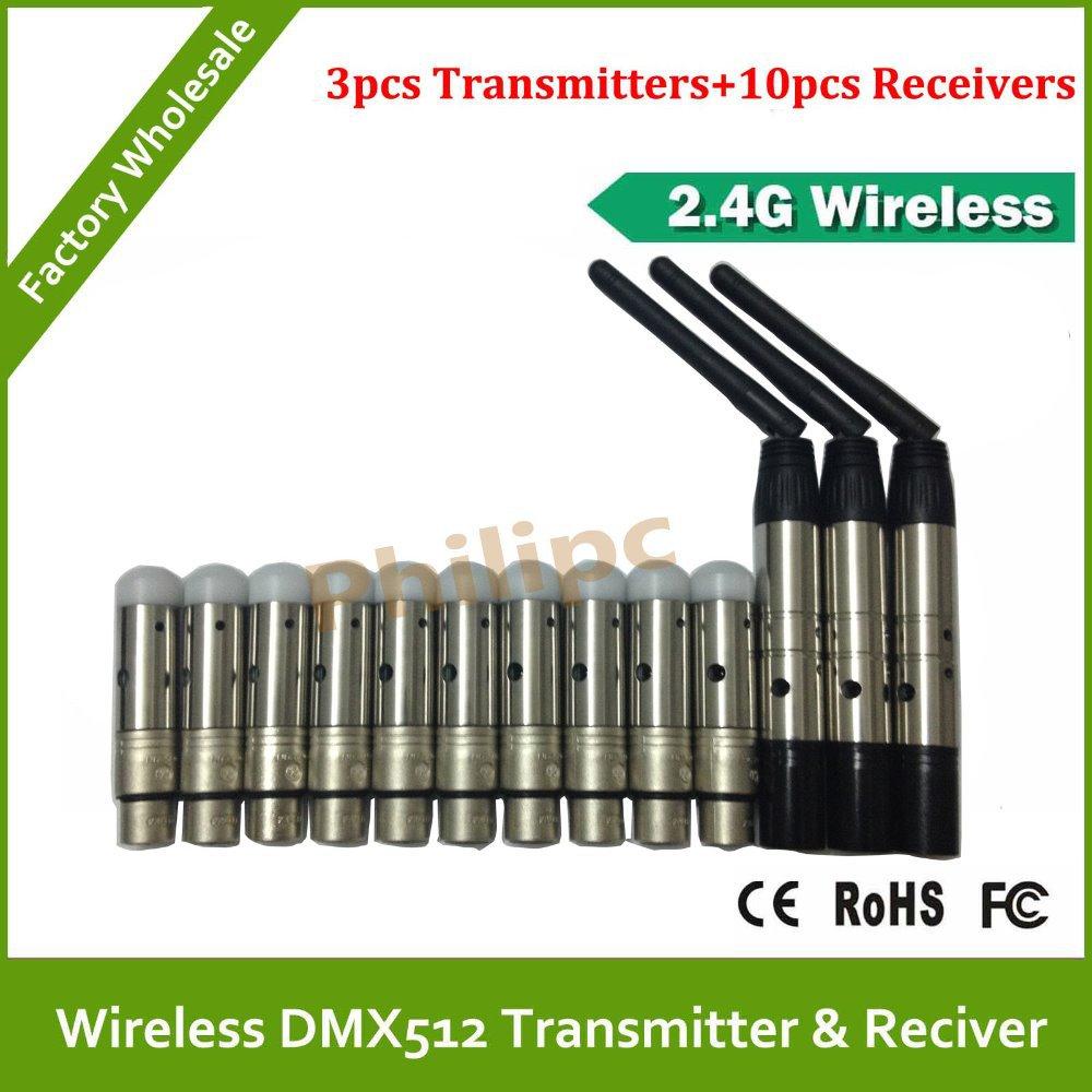 Best quality!! 2.4G wireless dmx512 transmitter receiver 3 Male &10 Female, signal stability led dmx controller disco lights dmx