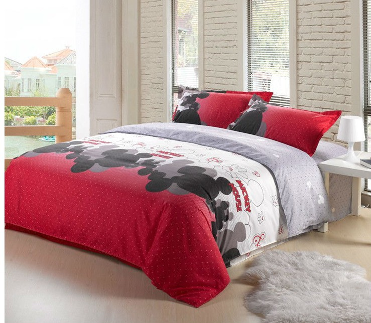 Hot sale mickey mouse 4pcs bedding set twin full queen size