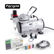 Fengda FD18-2K oil free piston compressor AS-1202K with airbrush gun airhose inks tattoo body paint mini pump