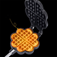 Maker for Waffle Black Heart Shape DIY Non Stick Metal Mould Cake Mold for Waffle for Baker Chef