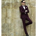 Slim Fit Burgundy Men's Dinner Party Prom Suits Groom Tuxedos Groomsmen Wedding Blazer Suits (Jacket+Pants+Vest)
