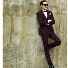 Slim Fit Burgundy Men's Dinner Party Prom Suits Groom Tuxedos Groomsmen Wedding Blazer Suits (Jacket+Pants+Vest)
