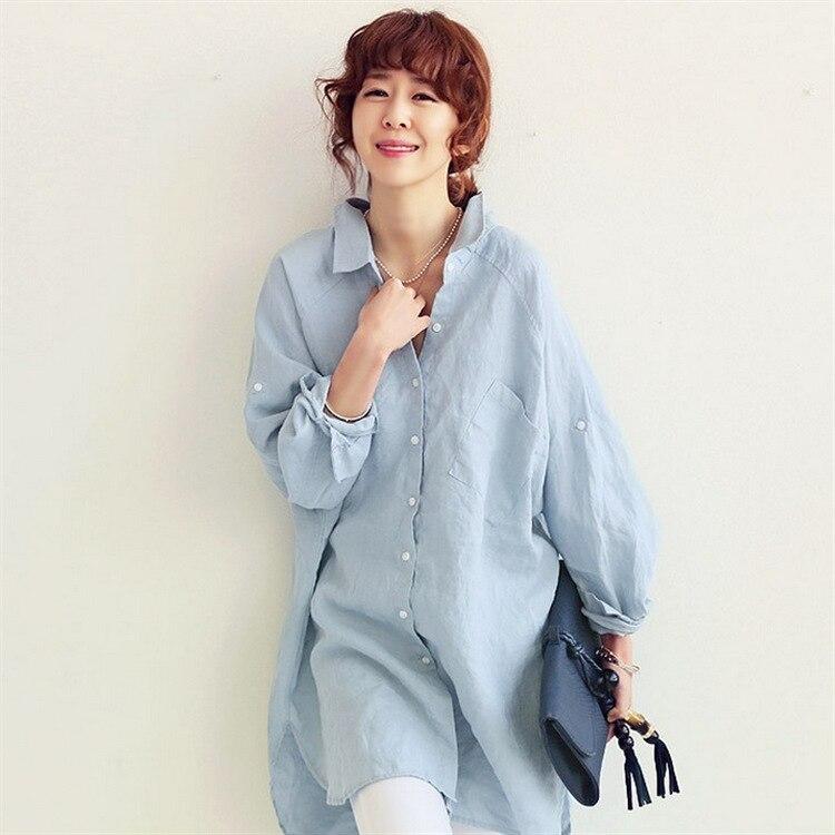 2019 femmes d'été Blouse décontractée lâche chemises à manches longues en lin Blouse hauts couleur unie moderne Simple Chic Style