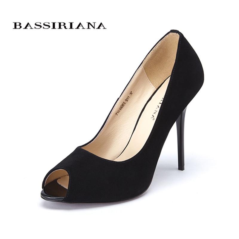 Zapatos de tacón alto zapatos bombas zapatos 2017 genuino patente de cuero de gamuza de Peep Toe zapatos de mujer color rosa negro 35-40 envío gratis BASSIRIANA
