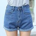 2016 de Cintura Alta Shorts Jeans Plus Size XS 4XL Feminino Short Jeans para As Mulheres 2016 Senhoras Verão Bermudas Quentes