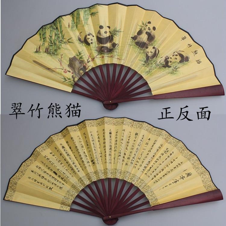 """1"""" украшенный Шелковый складной Ручной Веер человек большой бамбуковый китайский Печатный веер из ткани традиционное ремесло свадебные сувениры веер - Цвет: panda"""