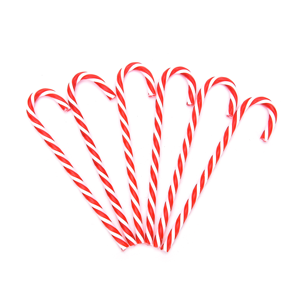 New Sale Plastic Candy Cane Ornaments Christmas Tree Hanging Decorations For Festival Party Xmas 6Pcs/bag
