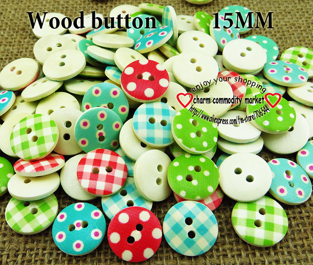 100PCS NEW Mixed color 15mm polka dot polka dot rustic plaid handmade diy accessories small wooden buttons Sewing Supplies