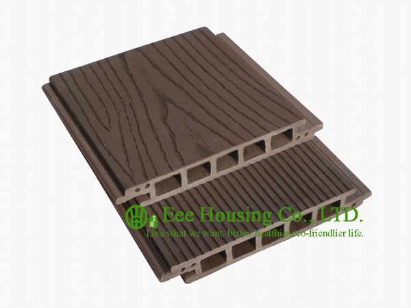 100% Recycled Outdoor WPC Decking With Wood Color, Easy Installation And Environmental Friendly