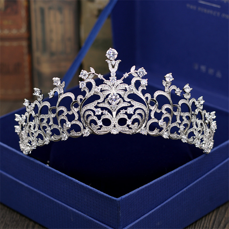 Wedding Crown Bridal Tiaras and Crowns full Cubic Zirconia Silver Color Hair Crown for Women Hair Jewelry Accessories high quality bridal tiaras and crowns full cubic zirconia gold color wedding hair crown for women hair jewelry accessories