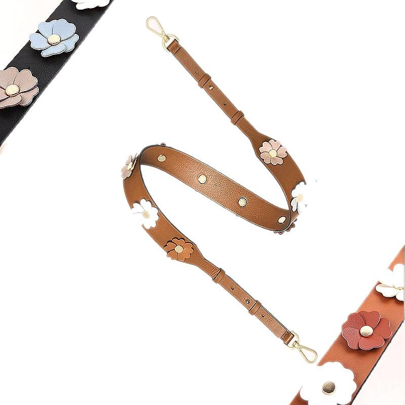 New Women Handbag Belts Flowers Leather Lady Shoulder Bags Strap Adjustable Easy Matching Girls Stripe