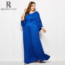 2018 Autumn Plus Size Dresses Women 4xl large size Dress Floor Length O-neck Blue Party Oversized Long Sleeve Maxi Robe