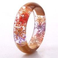 Estrella púrpura secado de resina pulsera transparente madera hecho a mano de La Flor de resina pulsera para bestfriends