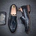 Мода Серпантин Скольжения На Мужской Обуви Странно Мягкая Кожа Аллигатора Pattern Мужские Кожаные Ботинки Мужские Туфли 2016 Вентиляция