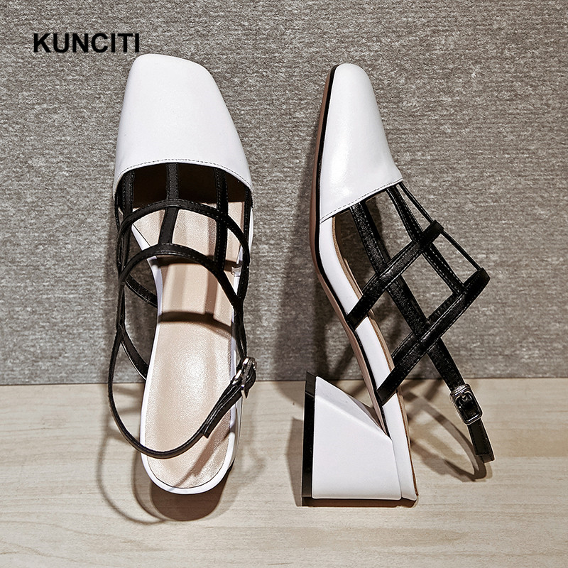 233aac2d3a94 ... 2018 Sexy Designer Heel Out High Square Chunky Leather Toe Rome Hollow  Match Sandals KUNCITI S46 ...