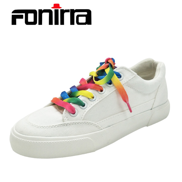 FONIRRA Women White Shoes Rainbow Lace Up Canvas Shoes for