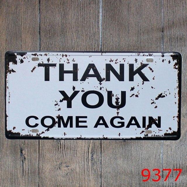 Car License Plate Vintage Tin Sign Bar Pub Home Kitchen Wall Decor Retro Metal Art Poster W 0211 15x30cm Free Shipping