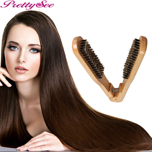 Prettysee Women Professional Boar Bristle Anti Static Hair Brush Handle Wood Comb Double Sided