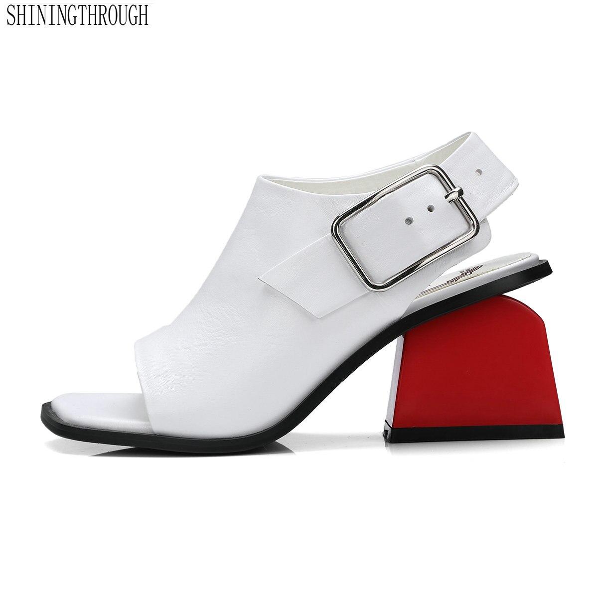2019 Eleganti Sandali Delle Donne Cut Out Del Cuoio Genuino Chunky Tacco Quadrato Gladiatore Roma indietro Sandali Cinghia Scarpe Da Donna-in Tacchi alti da Scarpe su  Gruppo 1