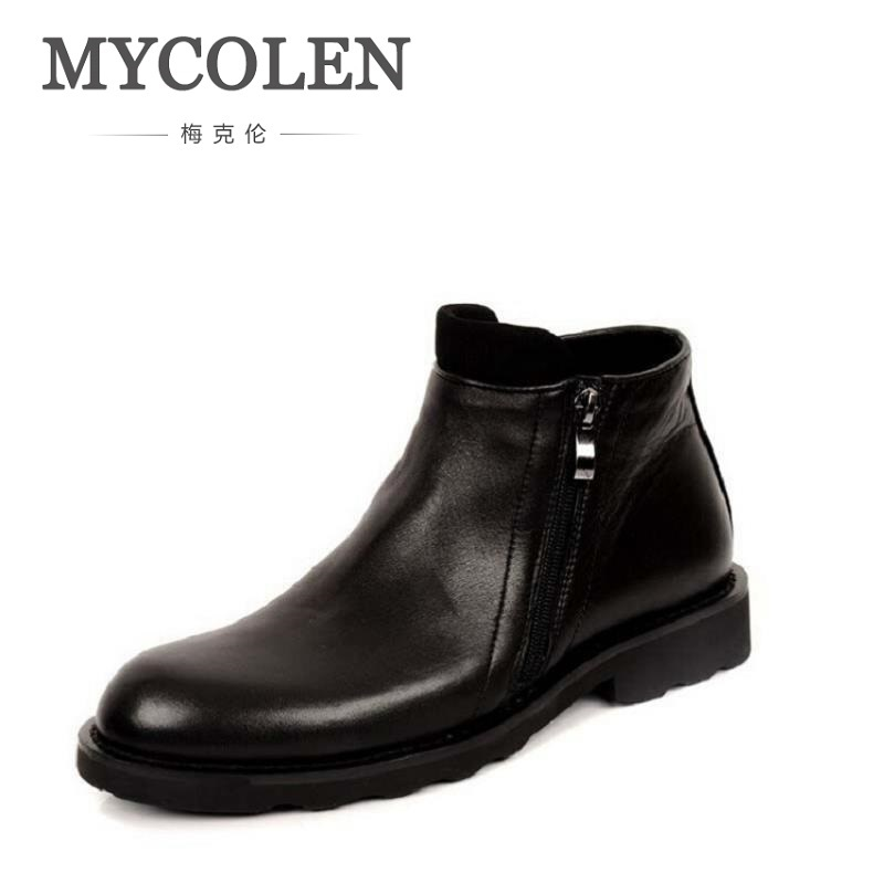 MYCOLEN Men Winter Boots Casual Genuine Leather Business Man Shoes Flat Heel Ankle Boots For Male Comfortable Orange Boots mycolen mens casual genuine leather flats loafers for men comfortable business wine red black crocodile print man leather shoes