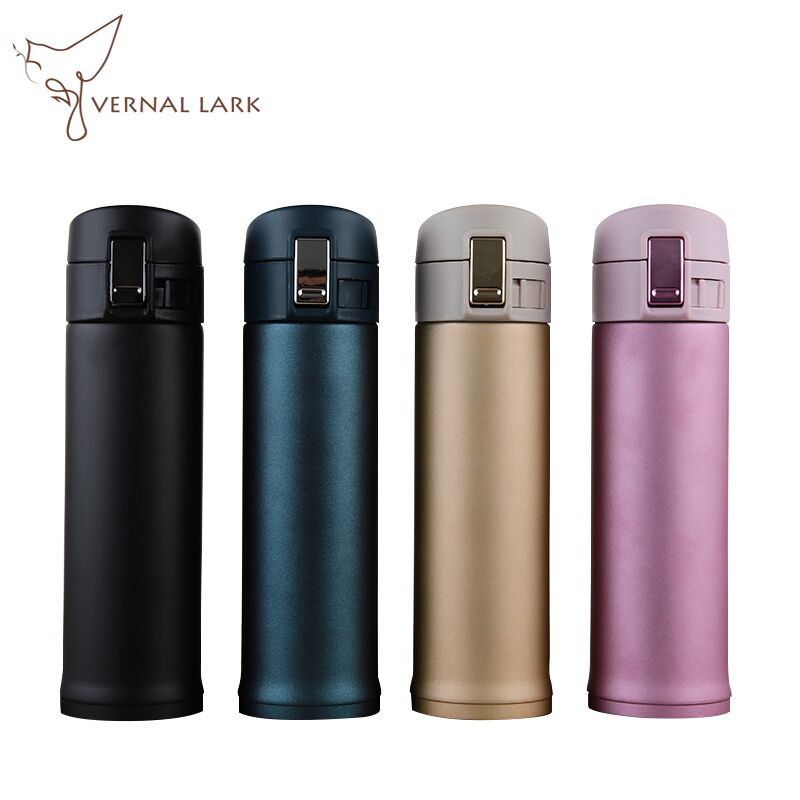 350ml/500ml Portable Safety Lock Cap Thermos Bottle Stainless Steel Vacuum Flask Straight Eco-Friendly Watter Bottle
