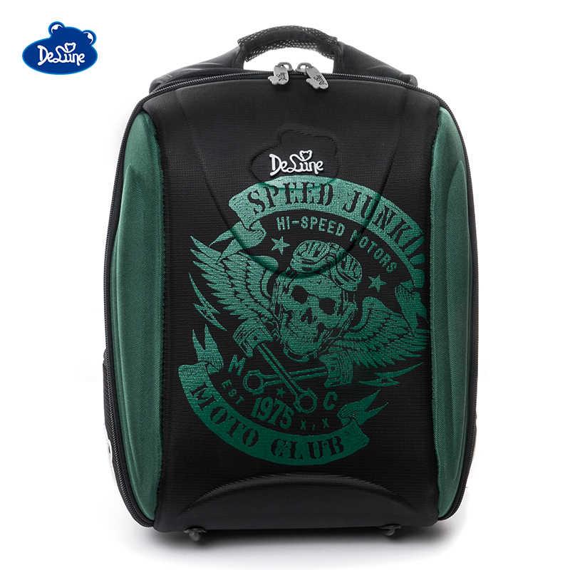 Delune брендовый Оригинальный детский школьный рюкзак для мальчиков с мультяшными автомобилями, ортопедический рюкзак, школьный рюкзак, детские школьные сумки