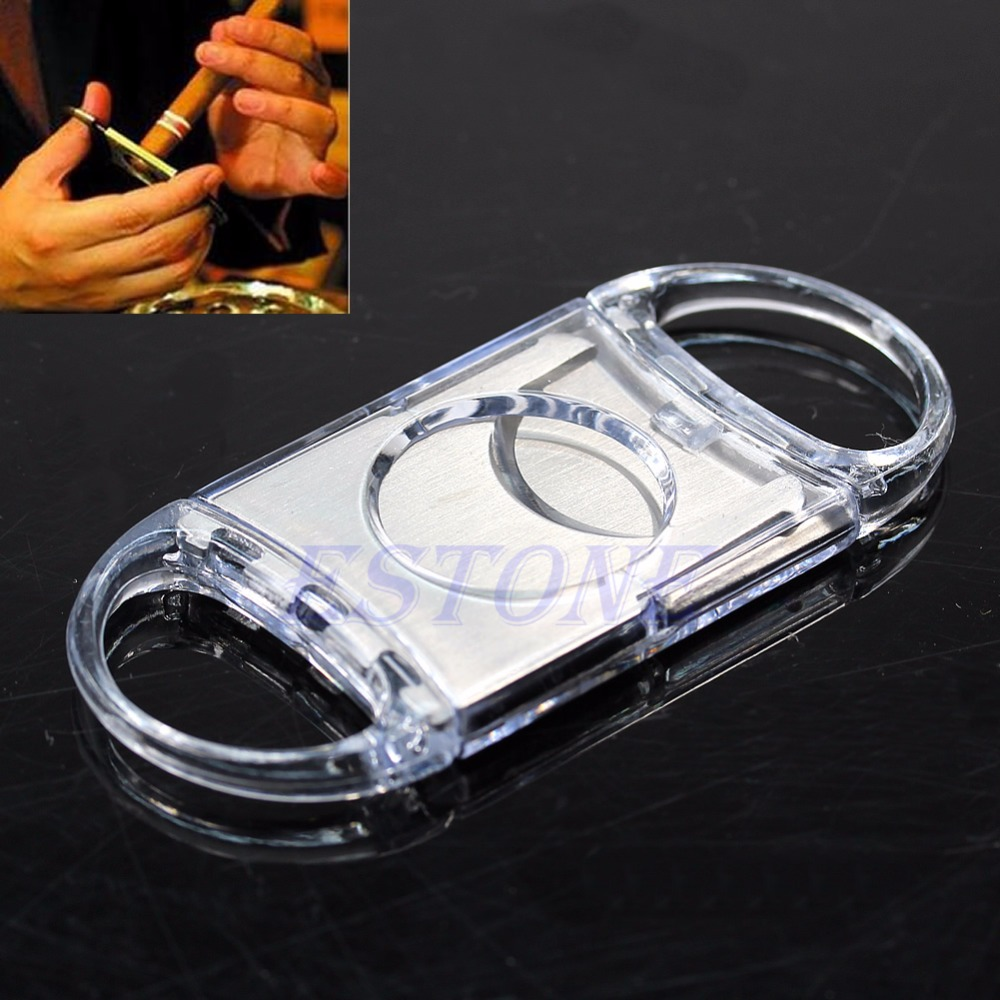 Silver Stainless Steel Pocket Cigar Cutter Knife Scissors Double Blades -P101