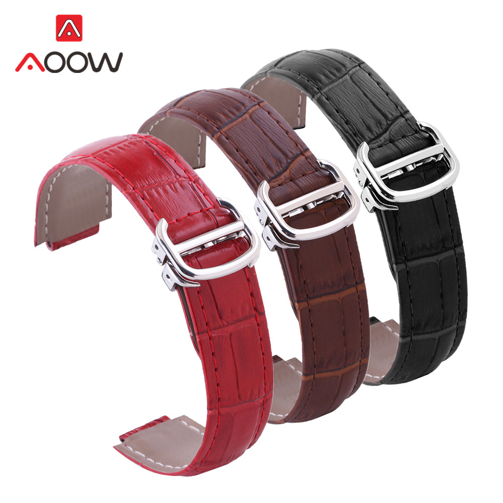 14mm 18mm 20mm Leather Watchband for Cartier Ballon Bleu Deployment Buckle Men Women Replacement Band Strap Watch Accessories