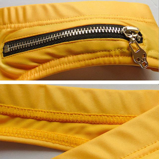 Leather Mens Thong Underwear Zipper