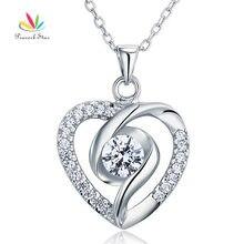 Pavo real Estrella Sólida Plata de ley 925 Del Corazón Collar Pendiente de la Joyería Nupcial de La Boda de dama de Honor CFN8032