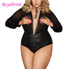 Women Sexy Lingerie Babydoll Big Size Large Jumpsuit Long-Sleeved Mesh One-Piece Pajamas