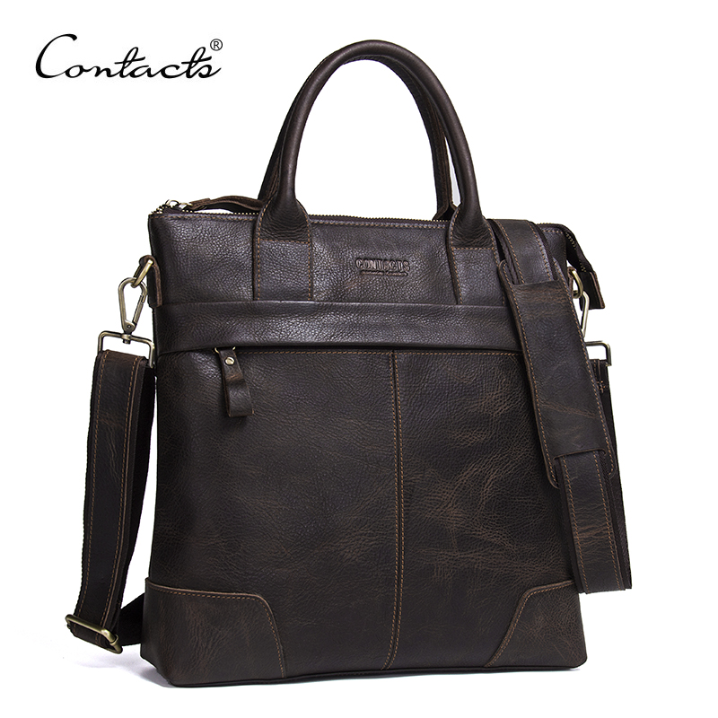 New Bag Men Vintage 2017 Genuine Leather Handbags Brand Crossbody Bags High Quality Famous Brands CONTACT'S New Men Briefcase