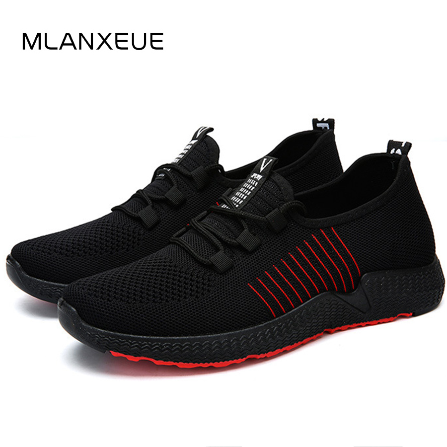 MLANXEUE Breathable Mesh Men Sneakers Shoes Men 2018 Autumn Winter Lace UP Casual Men Shoes Fashion Non-slip Male Sneakers Shoe forudesigns music notes with piano keyboard printed casual men sneakers flats fashion men lace up breathable mesh shoes men 2018