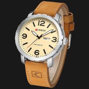 Image 3 - CURRENファッションメンズ腕時計militrayスポーツクォーツ腕時計革防水男性腕時計レロジオmasculino