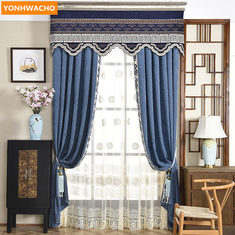 Custom Curtains Luxury Living Room Floor Bay Window Chenille Stripe Blue Jacquard Cloth Blackout Curtain Tulle Valance  B383