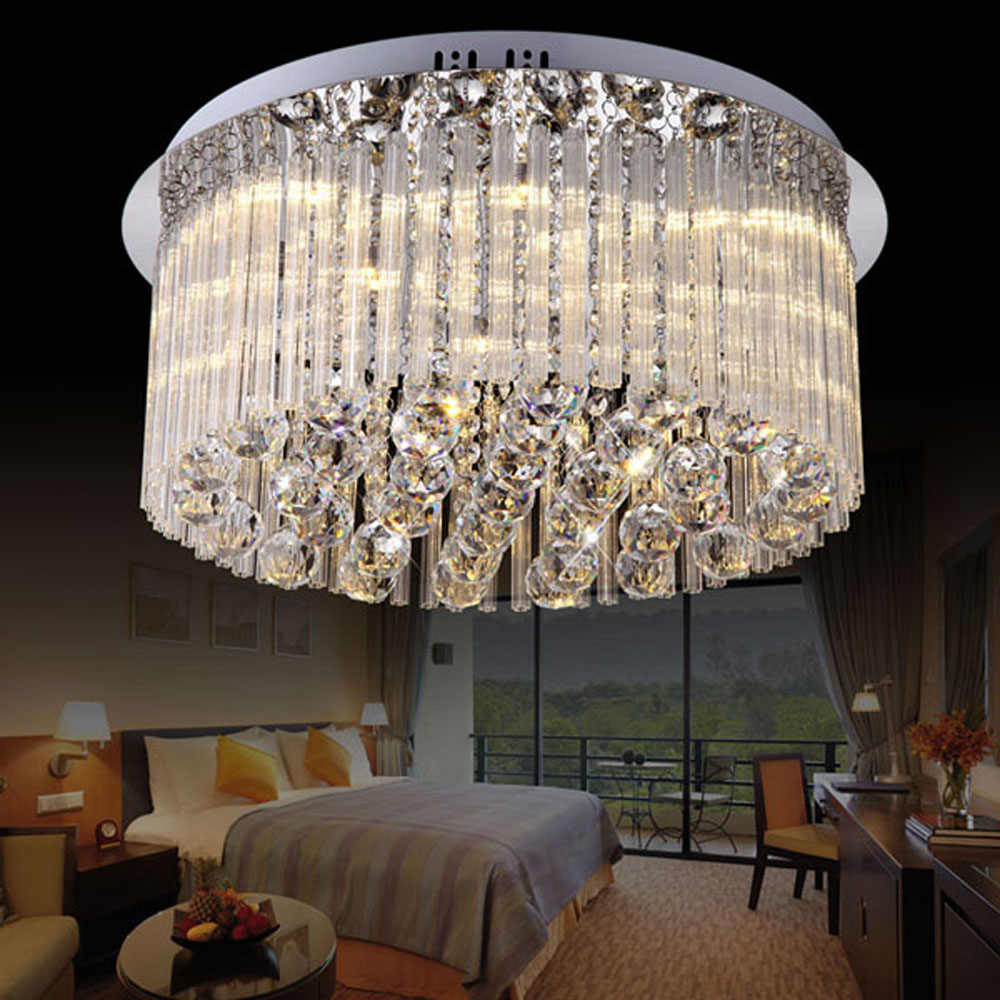Simple and modern three-color bright LED remote control round bedroom study crystal lamp lighting ceiling lamps lighting fixture