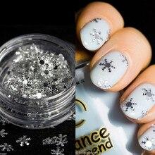 1 Caja de Uñas Glitter Nieve Brillante Tiny Diseño Decoraciones Del Arte Del Clavo Inclina La Decoración Hojas de Polvo 823659