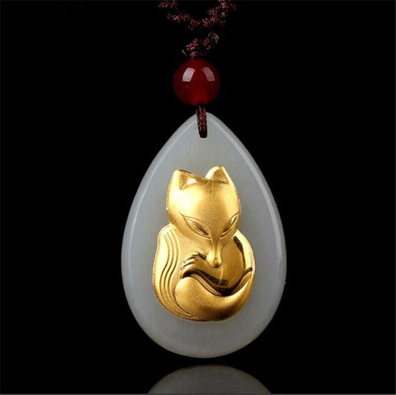 TJP 2018 Gold Fox Pendant Jade jewelry Good Quality Men Women Necklace Free shipping
