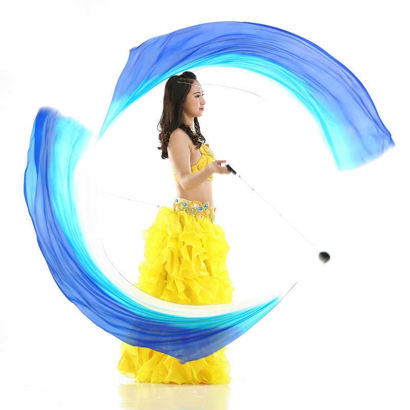 Ruoru 100% jedwabiu 2 sztuk jedwabiu welon + 2 sztuk Poi kuleczka na łańcuszku kobiety taniec brzucha jedwabny welon Poi Streamer rekwizyty sceniczne Rainbow gradient kolorów