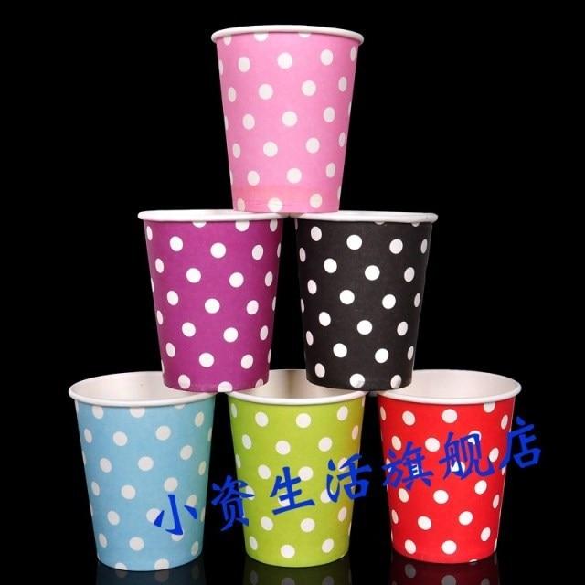 CU01 30pcs 9OZ Paper Drinking <font><b>Cups</b></font>, <font><b>Party</b></font> Items Paper <font><b>Cups</b></font>, <font><b>Polka</b></font> <font><b>Dots</b></font> <font><b>Party</b></font> <font><b>Cups</b></font> For Kids Birthday <font><b>Party</b></font> Decoration