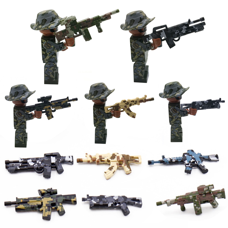 Military Camouflage Sniper Rifle Gun Parts Compatible Army ww2 Soldier  Figures Building Blocks Bricks Education Children Toys