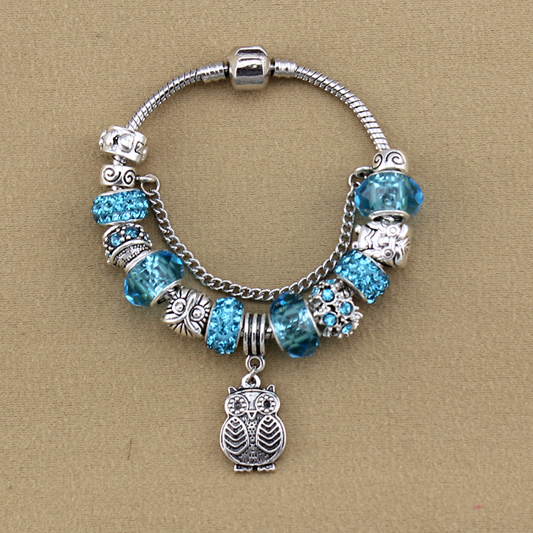 European Fashion Jewelry Owl Charm Bracelets Bangles Clear Gl Beads For Women Gift In From Accessories On