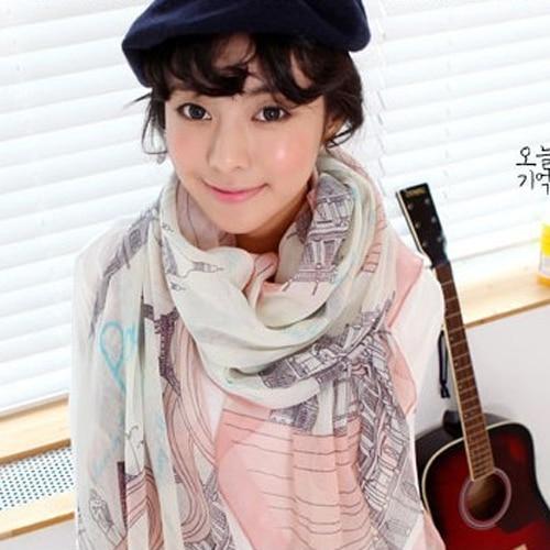 Hot Voile Soft Long   Scarf   Women Silk   scarf   Eiffel Tower Printed   Wrap   Shawl Stole   Scarves   Retail/Wholesale 5BP6 7EMJ