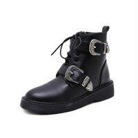 Najnowsze buty zimowe Kobieta Hot sprzedaż Europejskiej i Amerykańskiej mody, metalowa klamra, buty damskie, lace up, stałe ma krótkie buty