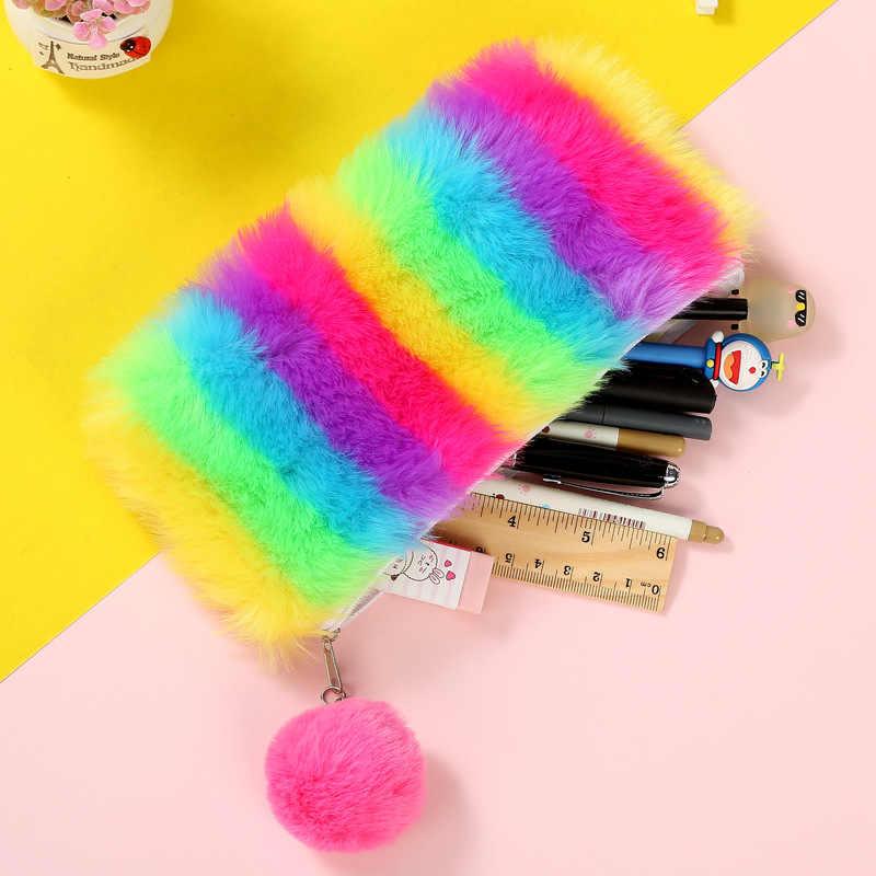 Kawaii Rainbow Pele Colorida Suprimentos Dom Artigos de Papelaria Caneta Caixa de Lápis Para A Escola Mulheres saco de Cosmética Saco de Armazenamento De Maquiagem Pompom Bola