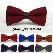 Модный костюм свадебный смокинг одежда бабочка красный/синий/коричневый/черный/желтый/фиолетовый/серый сплошной цвет бабочка галстук для мужчин