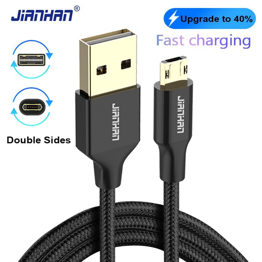 Vändbar Micro USB-kabel Flätad dataladdarkabel Dubbelsidor Microusb Snabbladdning för Xiaomi Samsung Galaxy S6 S7 Obs