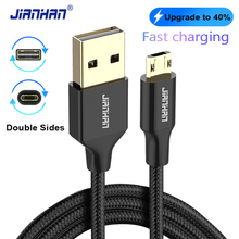 JianHan Reversible Micro USB Cable Nylon Braided Charging Data for Samsung Galaxy S6 S7 edge Xiaomi Huawei Wire