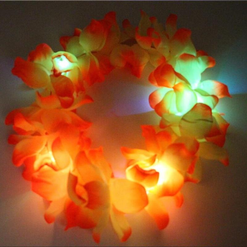 30pcs / lot 하와이 LED 깜박임 꽃 머리띠 화환 조명 화환 헤드웨어 댄스 쇼 글로우 파티 파티 웨딩 용품